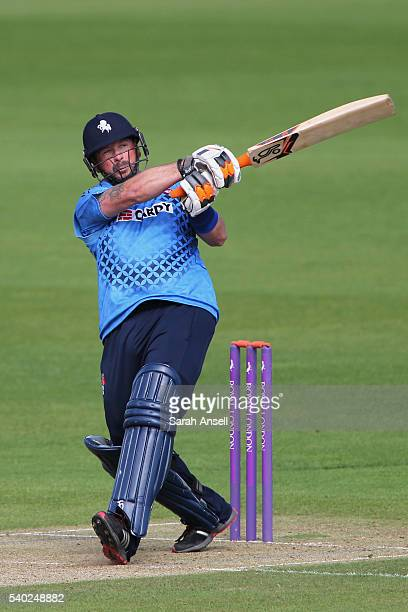 Darren Stevens of Kent hits out during The Royal London OneDay Cup match between Kent and Somerset at The Spitfire Ground St Lawrence on June 14 2016...