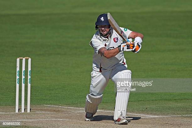 Darren Stevens of Kent hits out during what might be his last innings for the county on day 4 of the Specsavers County Championship Division 2 match...