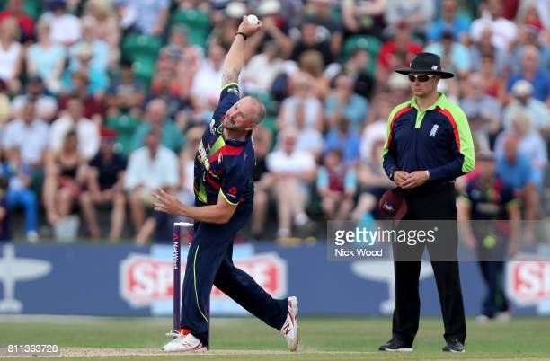 Darren Stevens of Kent in bowling action during the Kent Spitfires v Essex Eagles NatWest T20 Blast cricket match at the County Ground on July 09...