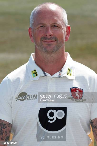 Darren Stevens of Kent poses for a photo during the Kent CCC Photocall at The Spitfire Ground on August 06, 2020 in Canterbury, England.