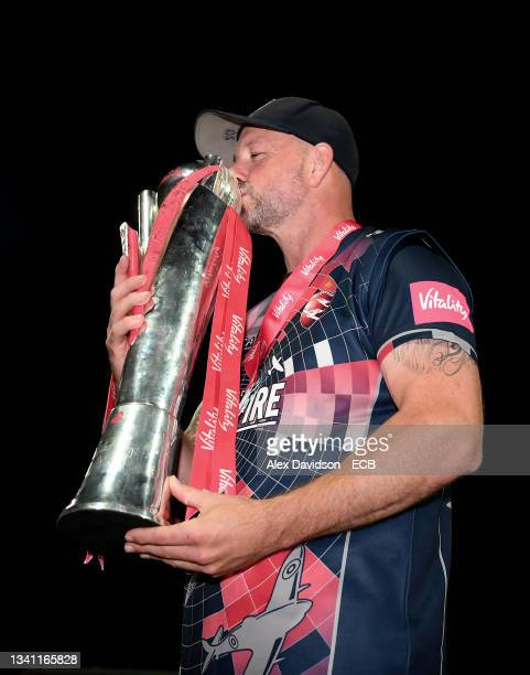 Darren Stevens of Kent poses with the Vitality Blast Trophy after the Vitality T20 Blast Final between Somerset and Kent at Edgbaston on September...