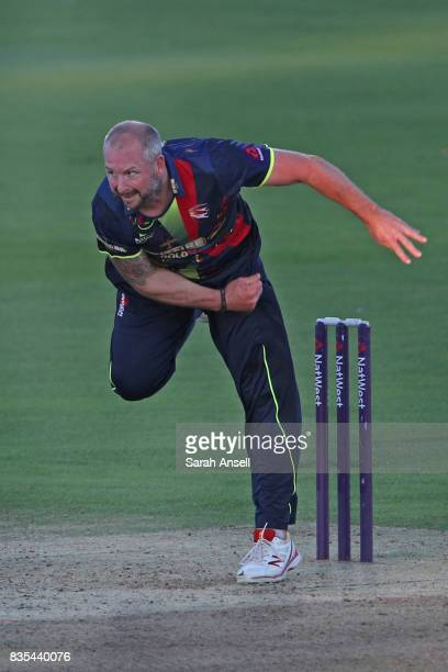 Darren Stevens of Kent Spitfires bowls during the NatWest T20 Blast South Group match between Kent Spitfires and Surrey at The Spitfire Ground on...