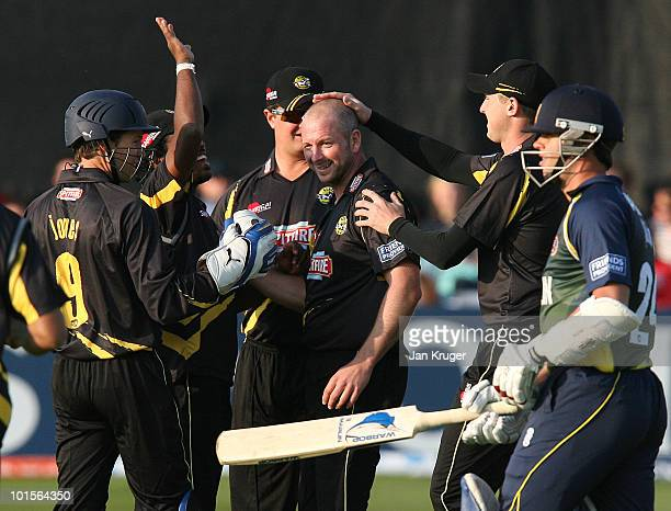Darren Stevens of Kent Spitfires celebrates with team mates after claiming the wicket of Mark Pettini captain of Essex Eagles in the first over...