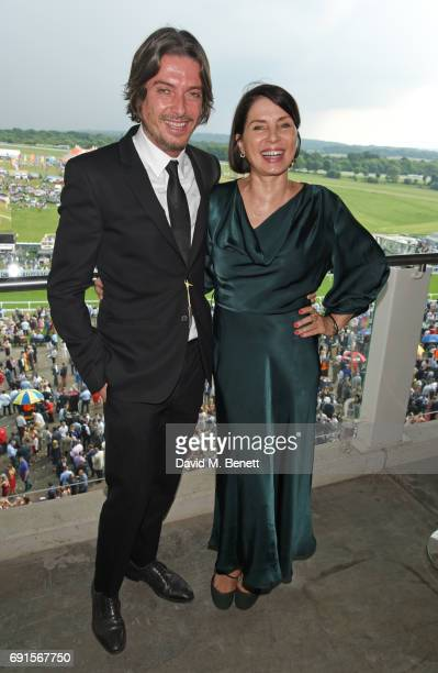 Darren Strowger and Sadie Frost attend Ladies Day of the 2017 Investec Derby Festival at The Jockey Club's Epsom Downs Racecourse at Epsom Racecourse...