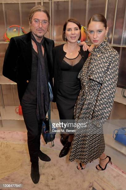 Darren Strowger, Sadie Frost and Iris Law attend the launch event of Mulberry's 'Iris for Iris' capsule collection designed by Iris Law, on March 10,...