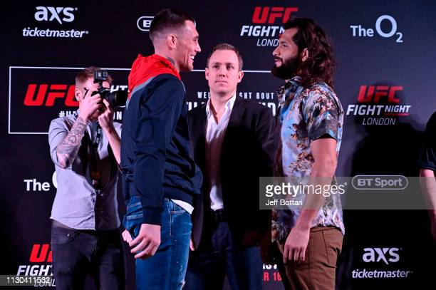 Darren Till of England and Jorge Masvidal face off during the UFC Fight Night Ultimate Media Day at Glaziers Hall on March 14 2019 in London England