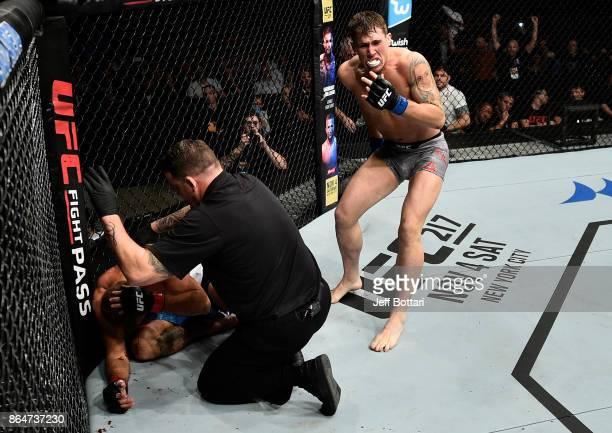 Darren Till of England celebrates after his TKO victory over Donald Cerrone in their welterweight bout during the UFC Fight Night event inside Ergo...