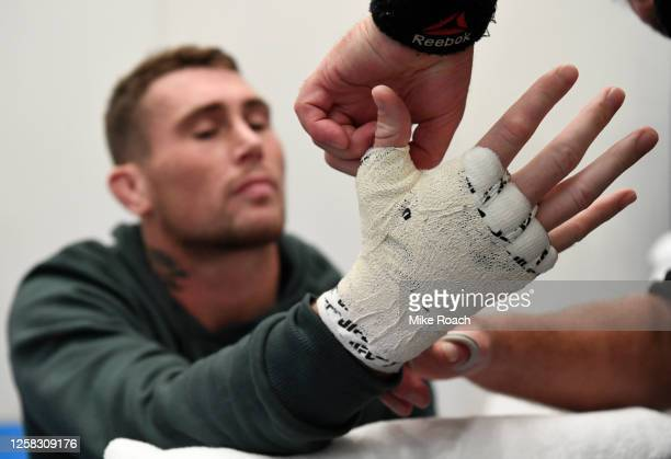 Darren Till of England has his hands wrapped prior to his fight during the UFC Fight Night event inside Flash Forum on UFC Fight Island on July 26...