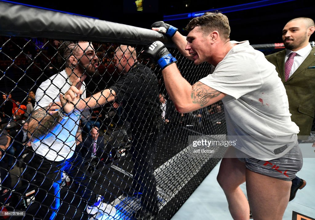 Darren Till of England has words with Mike Perry after his victory over Donald Cerrone during the UFC Fight Night event inside Ergo Arena on October 21, 2017 in Gdansk, Poland.