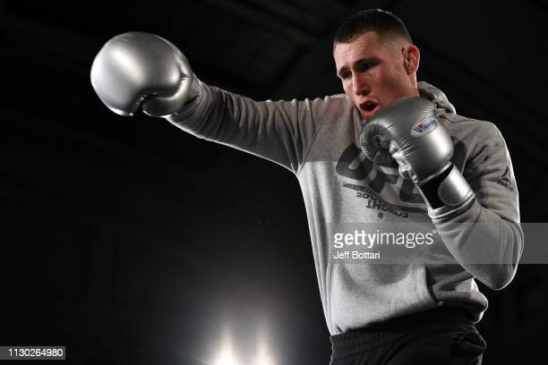 Darren Till of England performs an open workout for fans and media during the UFC Fight Night Open Workouts event at York Hall on March 13, 2019 in...