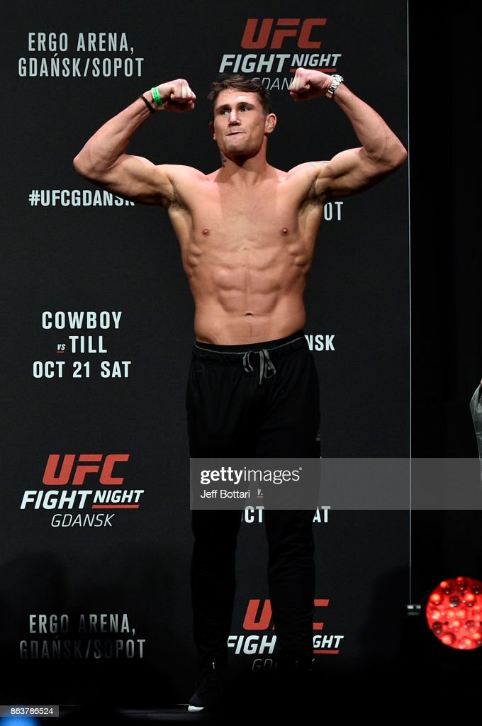 Darren Till of England poses on the stage during the UFC Fight Night Weigh-in inside Ergo Arena on October 20, 2017 in Gdansk, Poland.