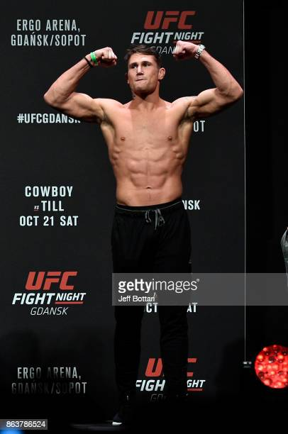 Darren Till of England poses on the stage during the UFC Fight Night Weighin inside Ergo Arena on October 20 2017 in Gdansk Poland