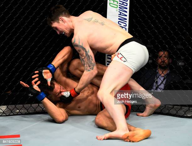 Darren Till of England punches Bojan Velickovic of Serbia in their welterweight bout during the UFC Fight Night event at the Rotterdam Ahoy on...