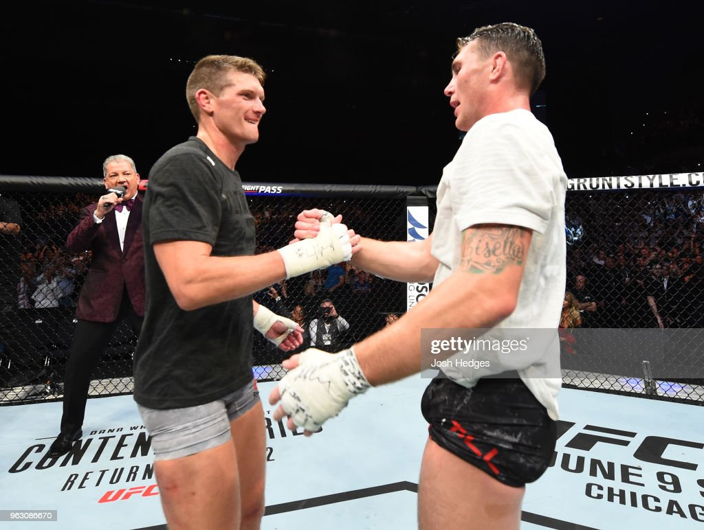 Darren Till of England shakes hands with Stephen Thompson in their welterweight bout during the UFC Fight Night event at ECHO Arena on May 27, 2018 in Liverpool, England.