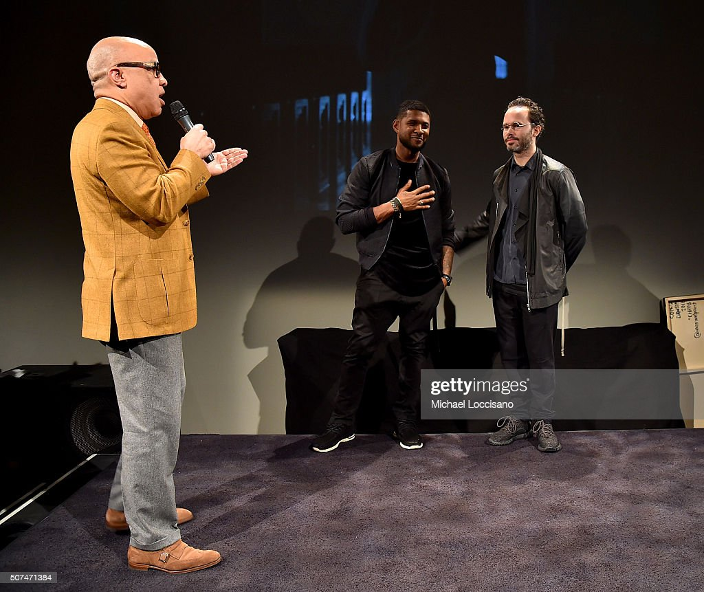 Darren Walker, Usher and Daniel Arsham onstage at Art For Social Justice, Usher Raymond IV, Daniel Arhsam and TIDAL debut Chains at Urban Zen on January 29, 2016 in New York City.