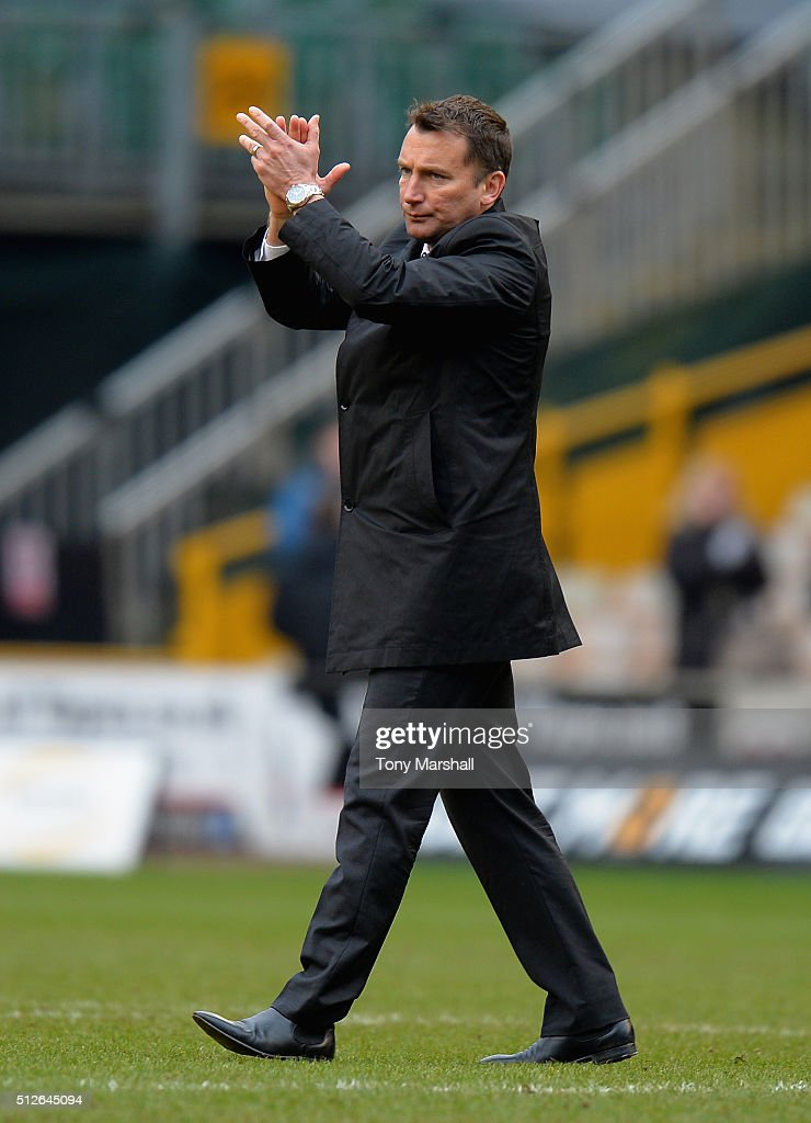 Darren Wassall, Head Coach of Derby County applauds the fans at the end of the Sky Bet Championship match between Wolverhampton Wanderers and Derby County at Molineux on February 27, 2016 in Wolverhampton, United Kingdom.