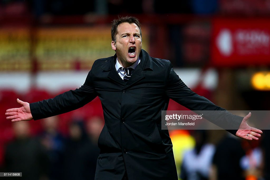 Darren Wassall, manager of Derby celebrates after the final whistle during the Sky Bet Championship match between Brentford and Derby County at Griffin Park on February 20, 2016 in Brentford, United Kingdom.