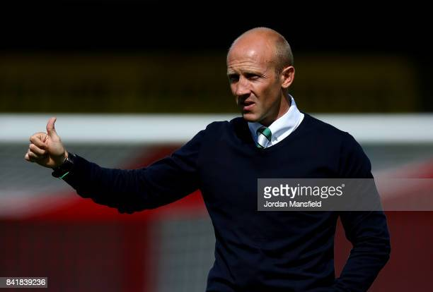 Darren Way manager of Yeovi Town prior to the Sky Bet League Two match between Crawley Town and Yeovil Town at Checkatradecom Stadium on September 2...