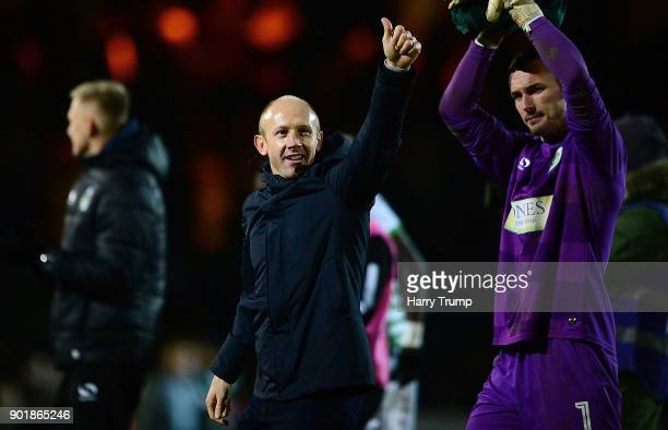 Darren Way Manager of Yeovil Town celebrates during The Emirates FA Cup Third Round match between Yeovil Town and Bradford City at Huish Park on...