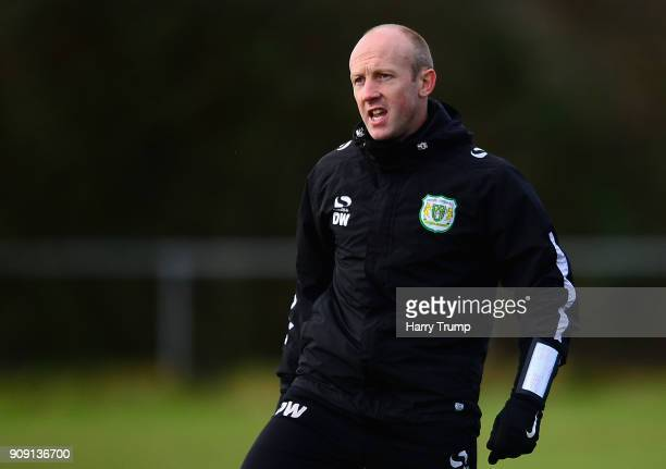 Darren Way manager of Yeovil Town gives instruction to his team during a training session during the Yeovil Town media access day at Huish Park on...