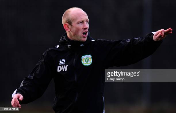 Darren Way Manager of Yeovil Town gives instructions during a Training Session at Hush Park on February 2 2017 in Yeovil England