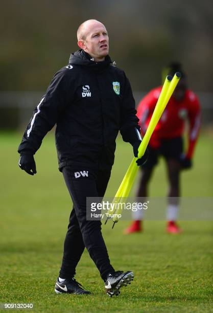 Darren Way manager of Yeovil Town looks on during a training session during the Yeovil Town media access day at Huish Park on January 23 2018 in...