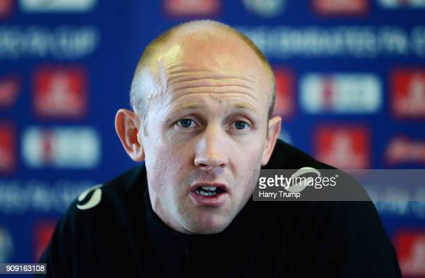 Darren Way manager of Yeovil Town speaks to the media during a press conference during the Yeovil Town media access day at Huish Park on January 23...