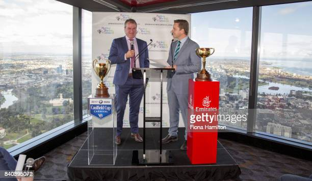Darren Weir Melbourne Cupwinning trainer and Michael Felgate at Eureka Tower on August 29 2017 in Melbourne Australia