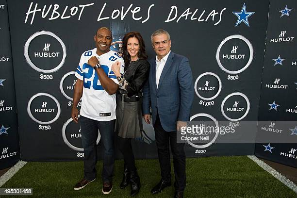 Darren Woodson Charlotte Jones Anderson and Ricardo Guadalupe pose for a photo as Hublot unveils the Big Bang Dallas Cowboys timepieces at ATT...