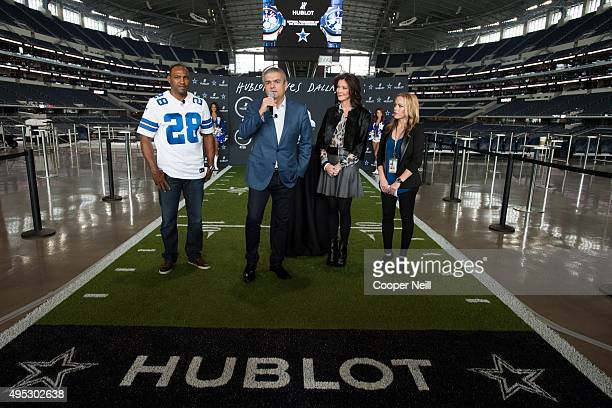 Darren Woodson Ricardo Guadalupe Charlotte Jones Anderson and Dana Jones unveil the new Hublot Big Bang Dallas Cowboys timepieces at ATT Stadium on...