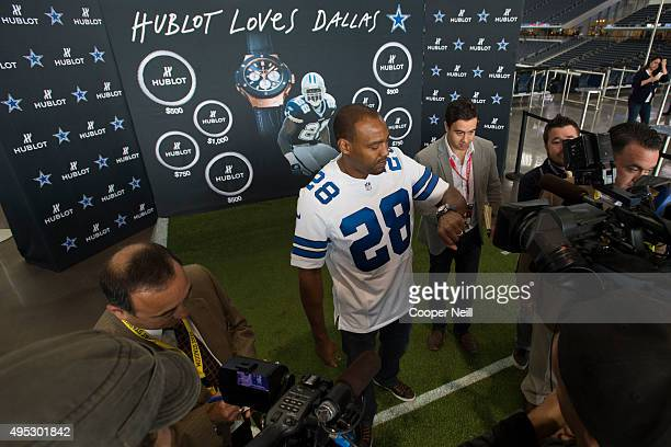 Darren Woodson speaks with the media as Hublot unveils the Big Bang Dallas Cowboys timepieces at ATT Stadium on November 1 2015 in Arlington Texas