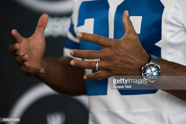 Darren Woodson wears the new Hublot Big Bang Dallas Cowboys timepiece at ATT Stadium on November 1 2015 in Arlington Texas