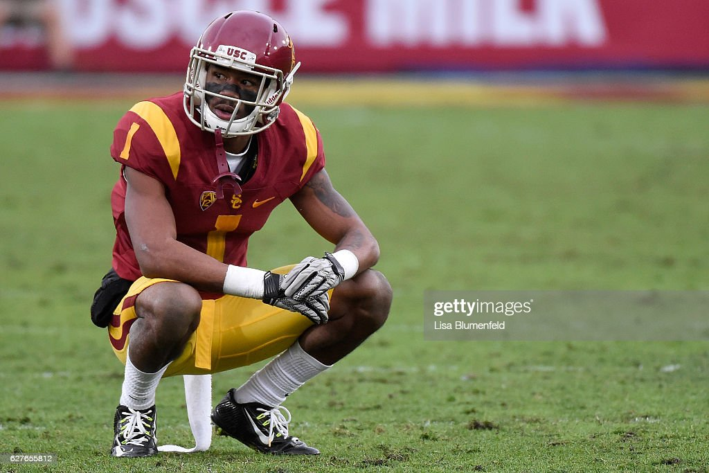 Darreus Rogers #1 of the USC Trojans rests on the field during the game against the Notre Dame Fighting Irish at Los Angeles Memorial Coliseum on November 26, 2016 in Los Angeles, California.