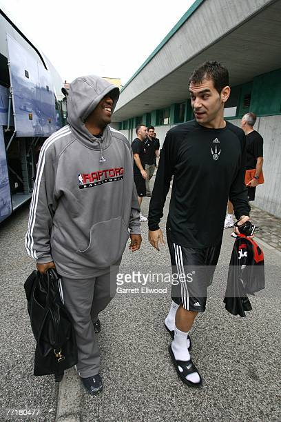 Darrick Martin and Jose Calderon of the Toronto Raptors arrive for another day of practice as part of the 2007 NBA Europe Live Tour on October 4 2007...