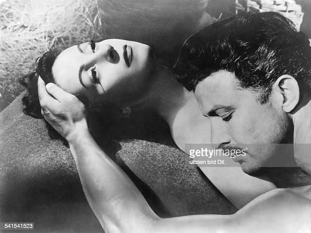 Darrieux Danielle Actress France * Scene from the movie 'L'Amant de Lady Chatterley'' with Erno Crisa Directed by Marc Allegret France 1955 Produced...