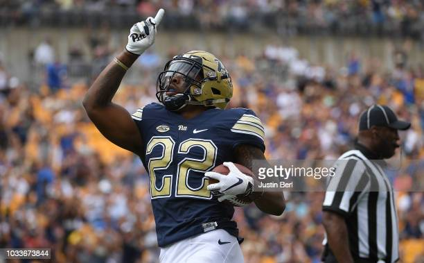 Darrin Hall of the Pittsburgh Panthers reacts after rushing for a 5 yard touchdown in the first half during the game against the Georgia Tech Yellow...