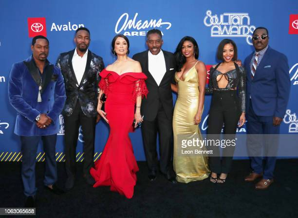 Darrin Henson Michael Jai White Valarie Pettiford Ernie Hudson Javicia Leslie KJ Smith and Clifton Powell of The Family Business attend the 2018 Soul...