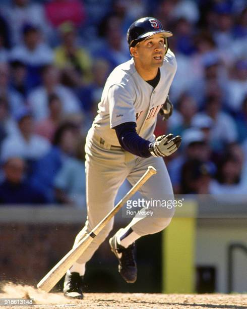 Darrin Jackson of the San Diego Padres bats during an MLB game versus the Chicago Cubs at Wrigley Field in Chicago Illinois during the 1991 season