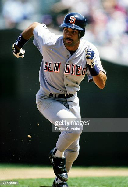 Darrin Jackson of the San Diego Padres running during a MLB game against the Chicago Cubs on June 2 1992 in Wrigley Field in Chicago Illinois
