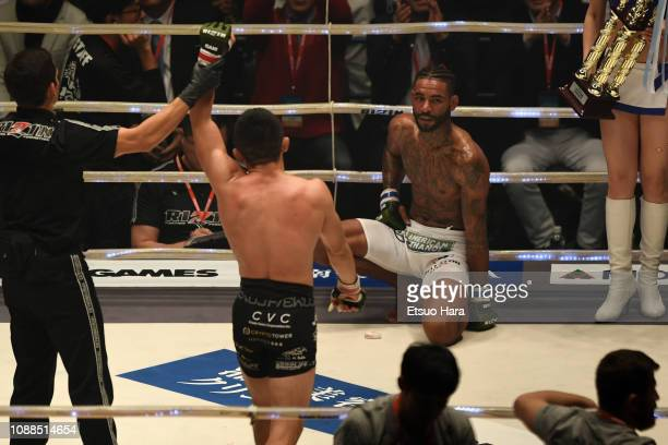 Darrion Caldwell of United States shows dejection in the bout between Kyoji Horiguchi of Japan and Darrion Caldwell of United States during the...