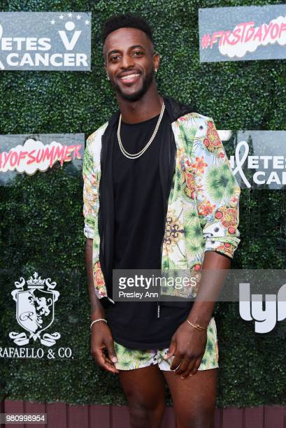 Darris Love and Gatsby Randall attend First Day Of Summer x Athletes vs Cancer at SkyBar at the Mondrian Los Angeles on June 21 2018 in West...