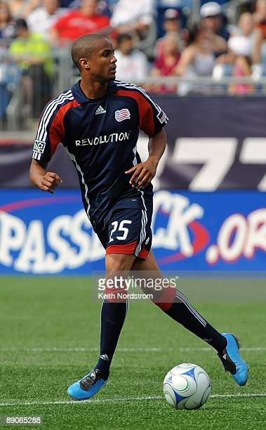 Darrius Barnes of the New England Revolution looks to pass during MLS match against the Kansas City Wizards on July 11 2009 at Gillette Stadium in...