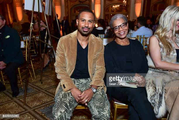 Darrius Brown and Alma Powell attend the Dennis Basso Spring/Summer 2018 Runway Show during New York Fashion Week at The Plaza Hotel on September 11...
