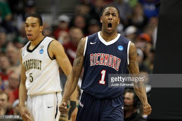 Darrius Garrett of the Richmond Spiders reacts after a play against the Vanderbilt Commodores during the second round of the 2011 NCAA men's...