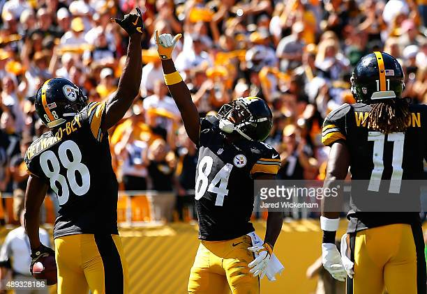 Darrius Heyward-Bey celebrates his touchdown with teammate Antonio Brown of the Pittsburgh Steelers in the second quarter against the San Francisco...