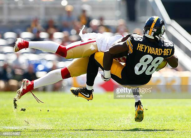 Darrius HeywardBey of the Pittsburgh Steelers catches a pass in the first quarter before being tackled against the San Francisco 49ers during the...