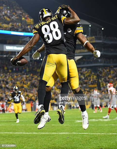 Darrius Heyward-Bey of the Pittsburgh Steelers celebrates his 31 yard touchdown reception with Xavier Grimble in the first quarter during the game...