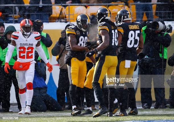 Darrius Heyward-Bey of the Pittsburgh Steelers celebrates with teammates after a 29 yard touchdown run in the first quarter during the game against...