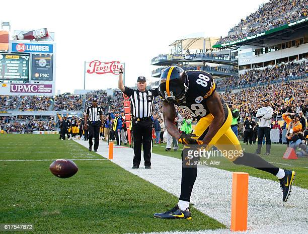 Darrius HeywardBey of the Pittsburgh Steelers spikes the ball after catching a pass for a 14 yard touchdown in the second quarter during the game...