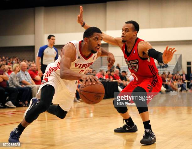 Darrius Morris of the Rio Grande Valley Vipers drives the ball to the net on John Jordan of the Raptors 905 during the first game of the NBA DLeague...
